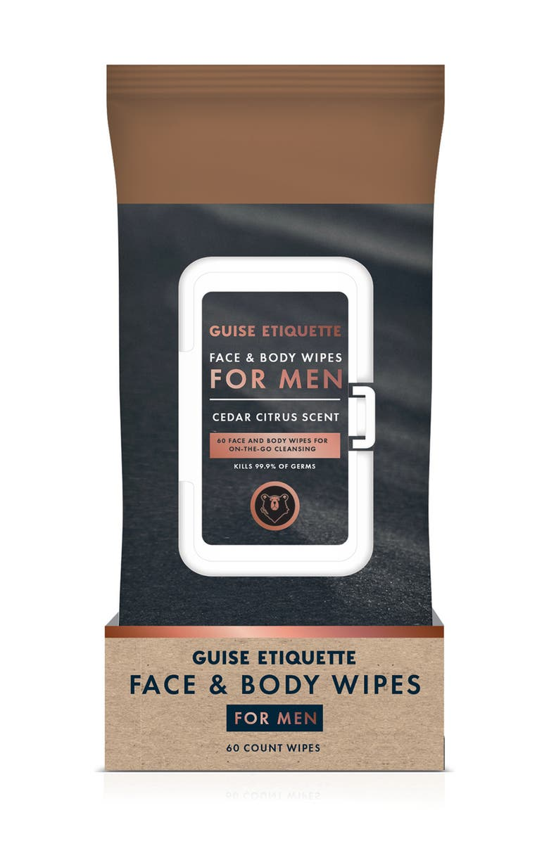 GUISE ETIQUETTE Face and Body Wipes for Men - 60 Count, Main, color, BLACK