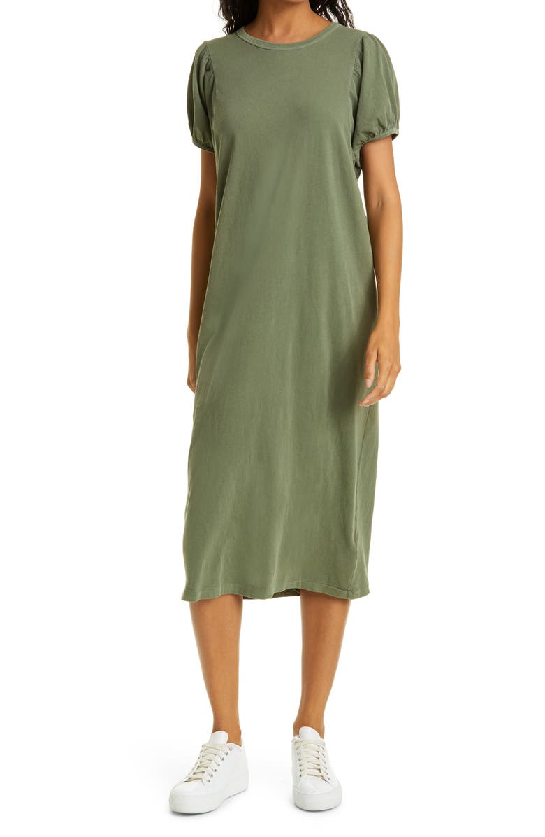 THE GREAT. The Puff Sleeve Midi T-Shirt Dress, Main, color, ARMY