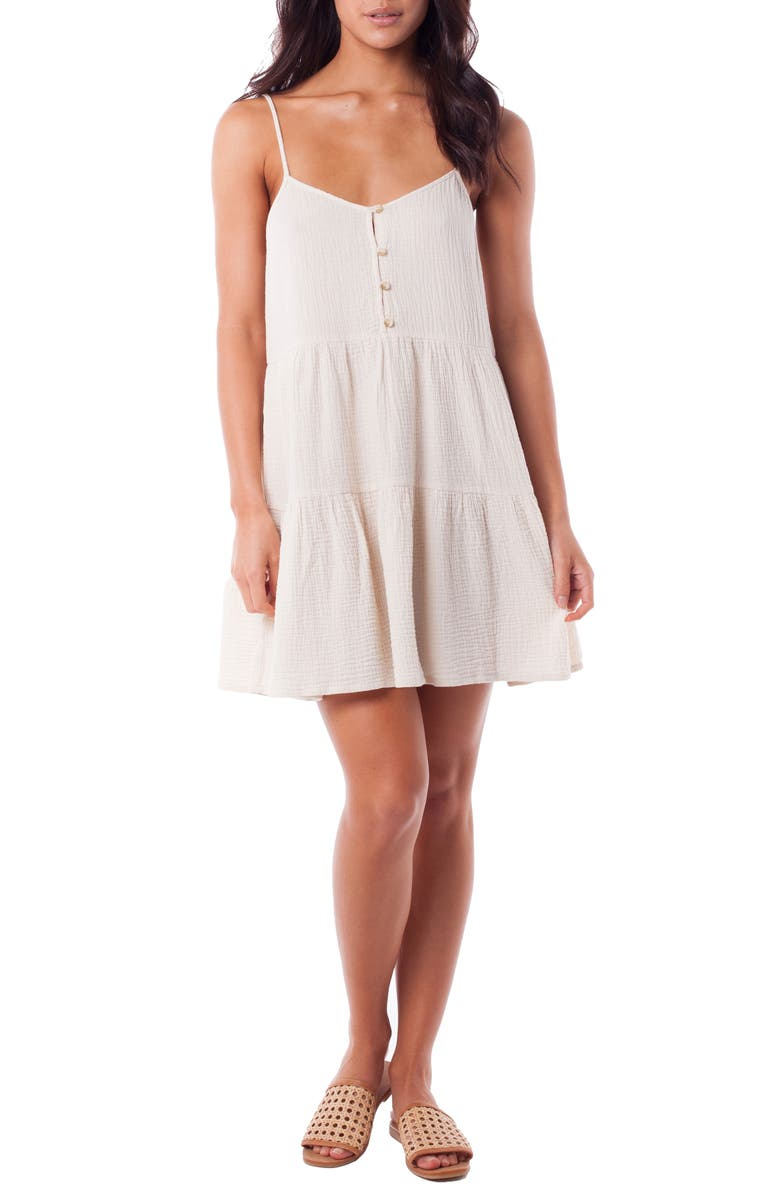 RHYTHM Camile Tiered Cover-Up Dress, Main, color, 100