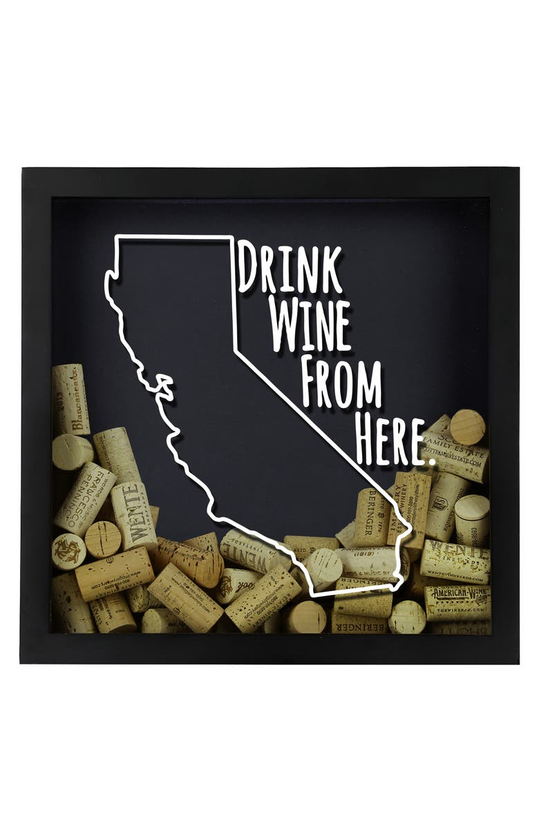 BEERCAPTRAP Drink Wine from Here State Shadow Box, Main, color, 001