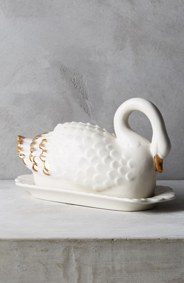 ANTHROPOLOGIE HOME Ceramic Swan Butter Dish, Main, color, 100