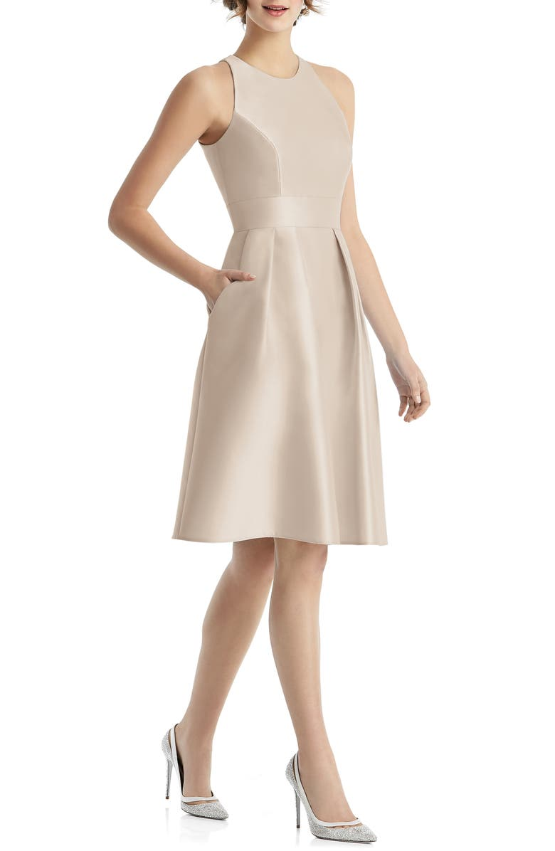 ALFRED SUNG Jewel Neck Satin Cocktail Dress, Main, color, CAMEO