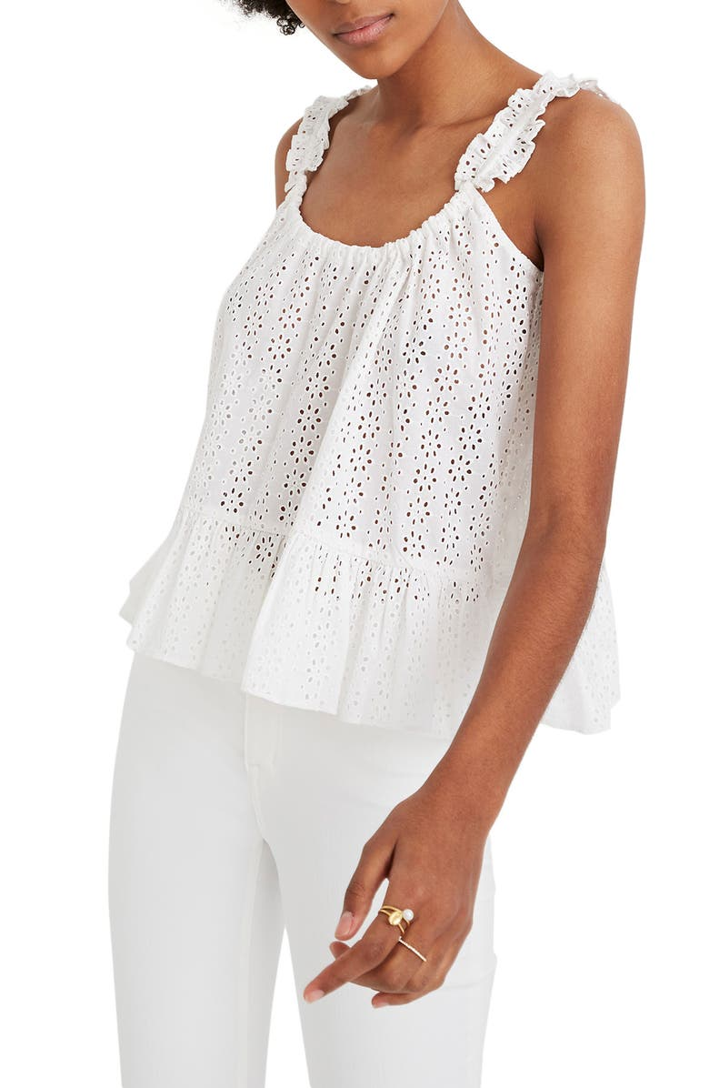 MADEWELL Eyelet Ruffle Strap Camisole, Main, color, 100