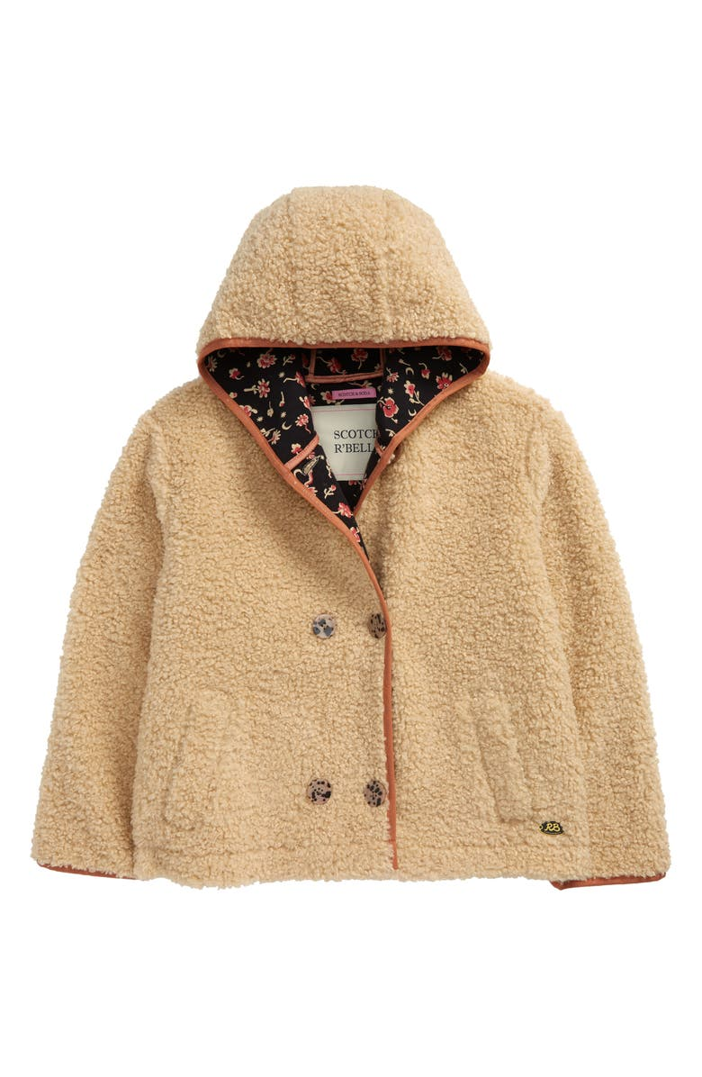 SCOTCH R'BELLE Hooded Faux Shearling Teddy Jacket, Main, color, 0003 ECRU