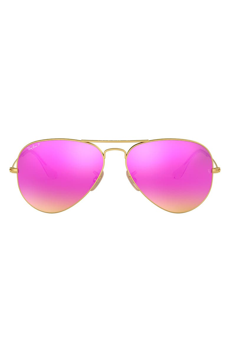 RAY-BAN Standard Icons 58mm Mirrored Polarized Aviator Sunglasses, Main, color, GOLD/ PINK MIRROR