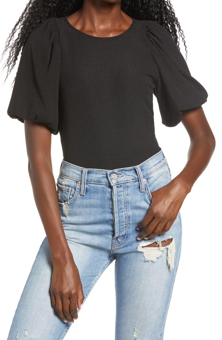 SOCIALITE Ribbed Puff Sleeve Top, Main, color, BLACK