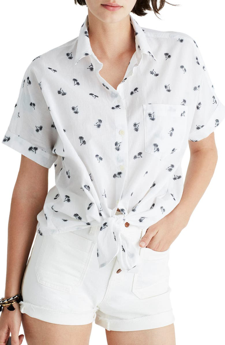 MADEWELL Palm Print Tie Front Shirt, Main, color, 900