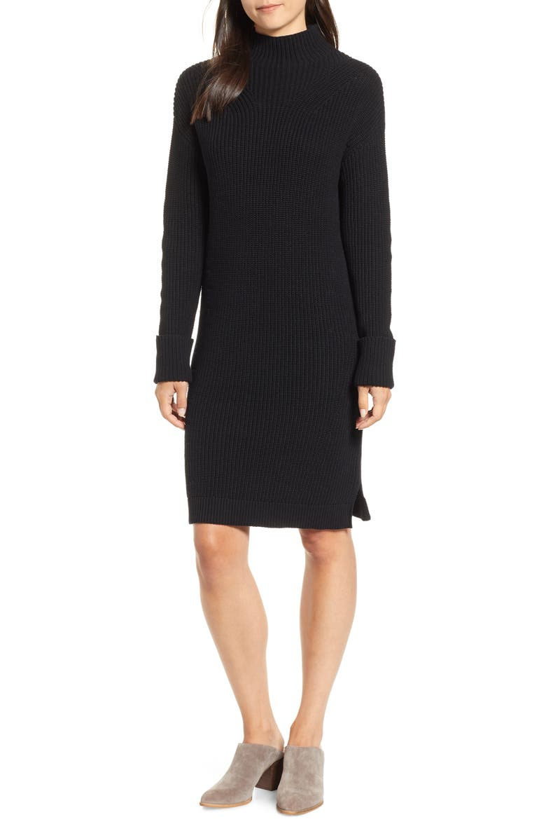 CASLON<SUP>®</SUP> Ribbed Sweater Dress, Main, color, 001