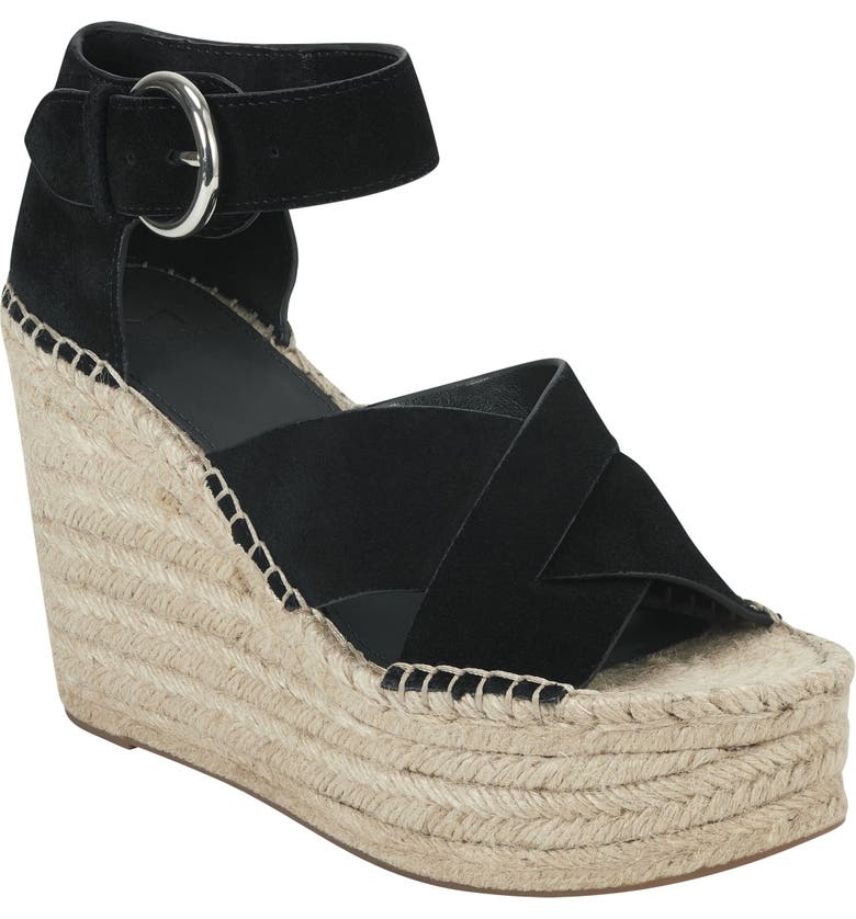 MARC FISHER LTD Amari Ankle Strap Espadrille Wedge, Main, color, BLACK SUEDE