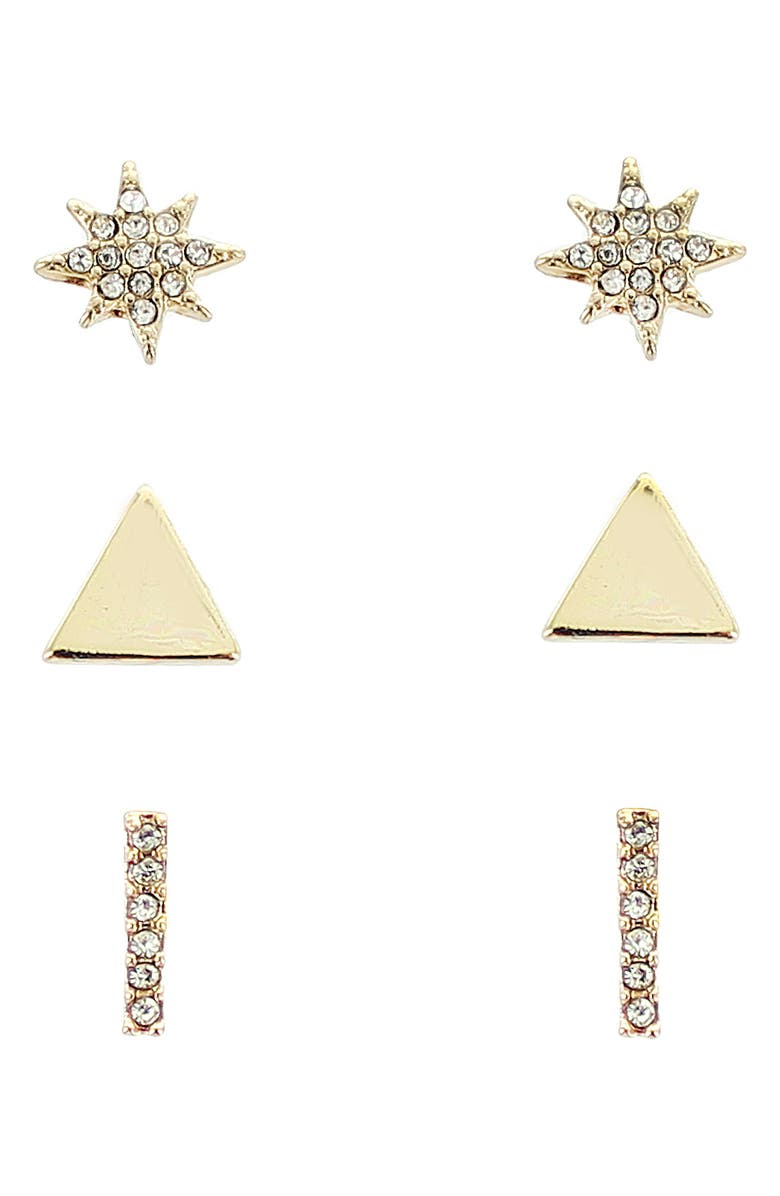 PANACEA Assorted Set of 3 Stud Earrings, Main, color, GOLD