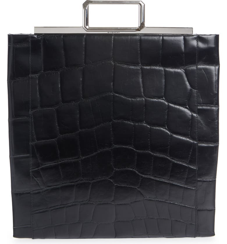 GIVENCHY Croc Embossed Leather Shopper, Main, color, BLACK