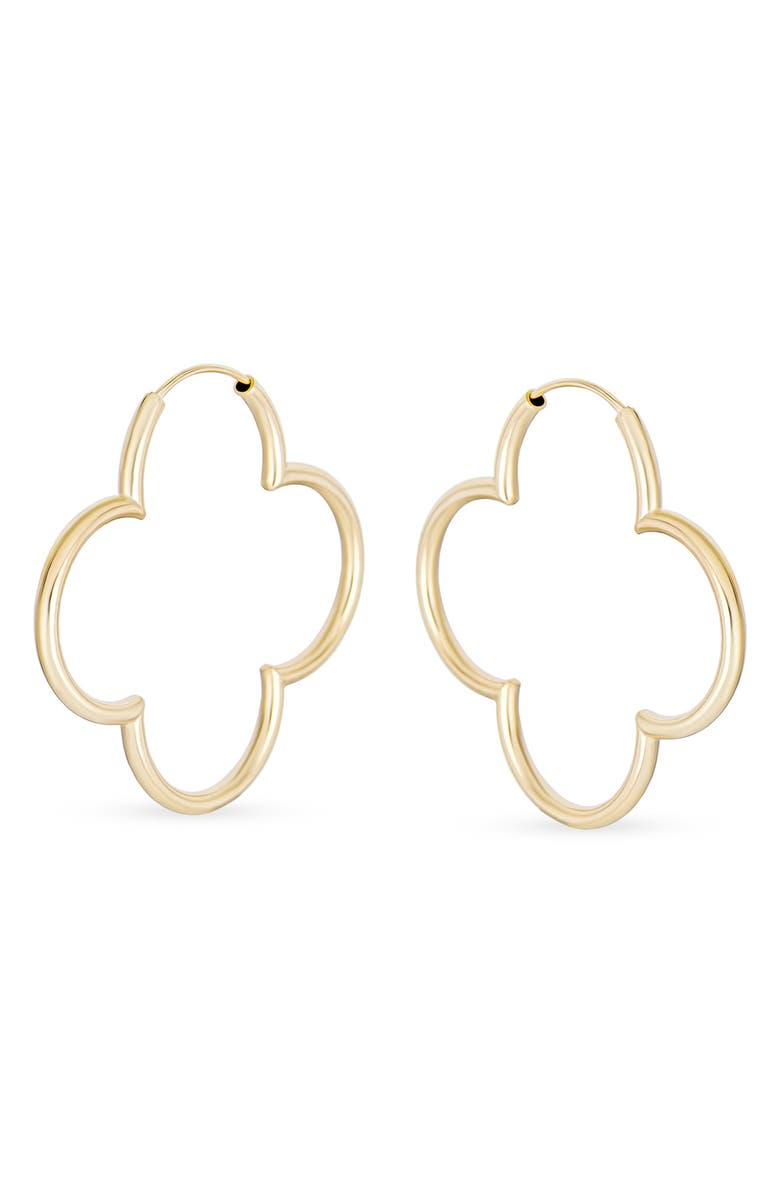 BLING JEWELRY Sterling Silver & Gold Vermeil CZ Lady Luck 38mm Hoop Earrings, Main, color, GOLD