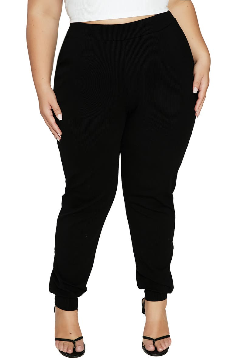 NAKED WARDROBE Snatched High Waist Ribbed Joggers, Main, color, BLACK