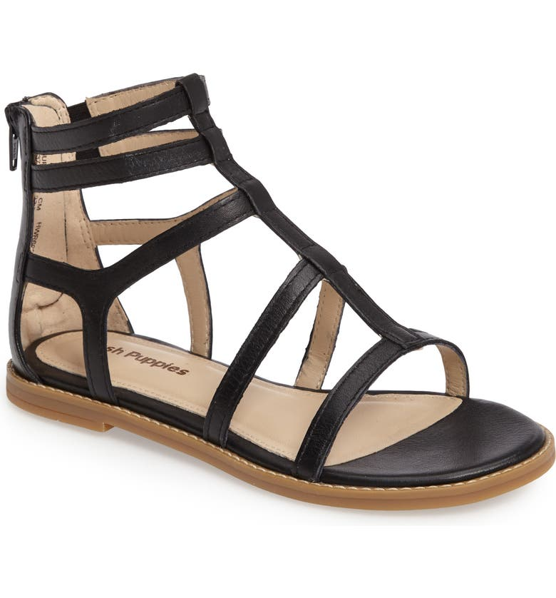HUSH PUPPIES<SUP>®</SUP> Abney Chrissie Cage Sandal, Main, color, BLACK LEATHER