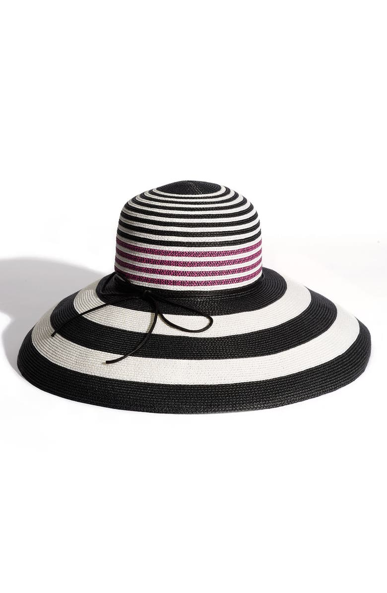 LAUNDRY BY SHELLI SEGAL 'Nicole' Sun Hat, Main, color, BLACK/HOT PINK