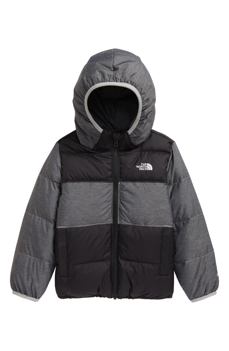 THE NORTH FACE Kids' 'Moondoggy' Water Repellent Reversible Down Jacket, Main, color, 001