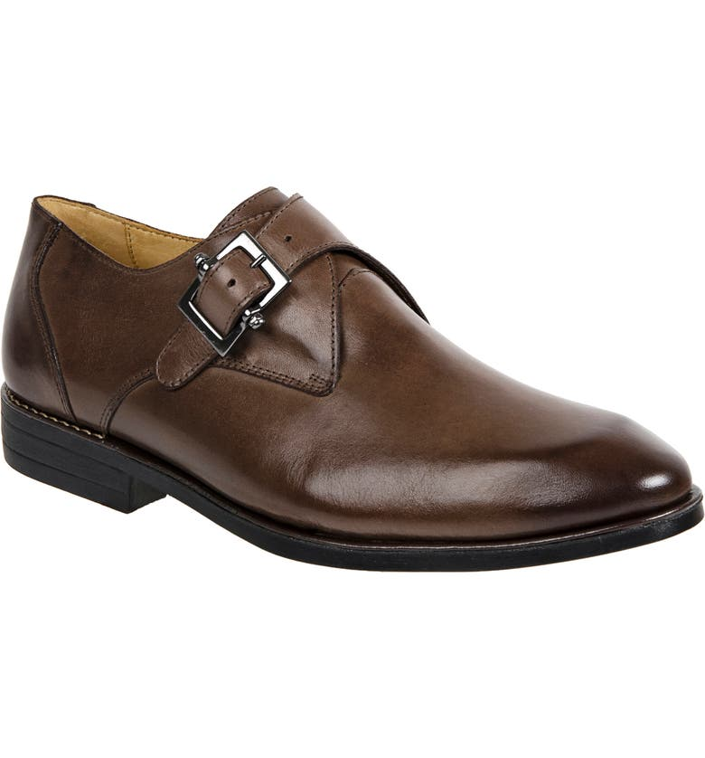 SANDRO MOSCOLONI Wendell Single Buckle Monk Shoe, Main, color, BROWN LEATHER