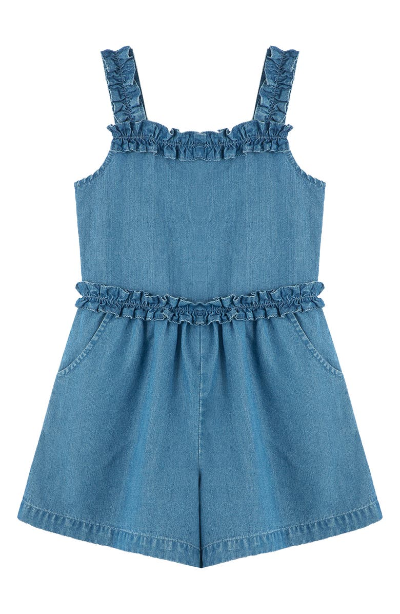 HABITUAL GIRL Kids' Ruffle Romper, Main, color, MED STONE
