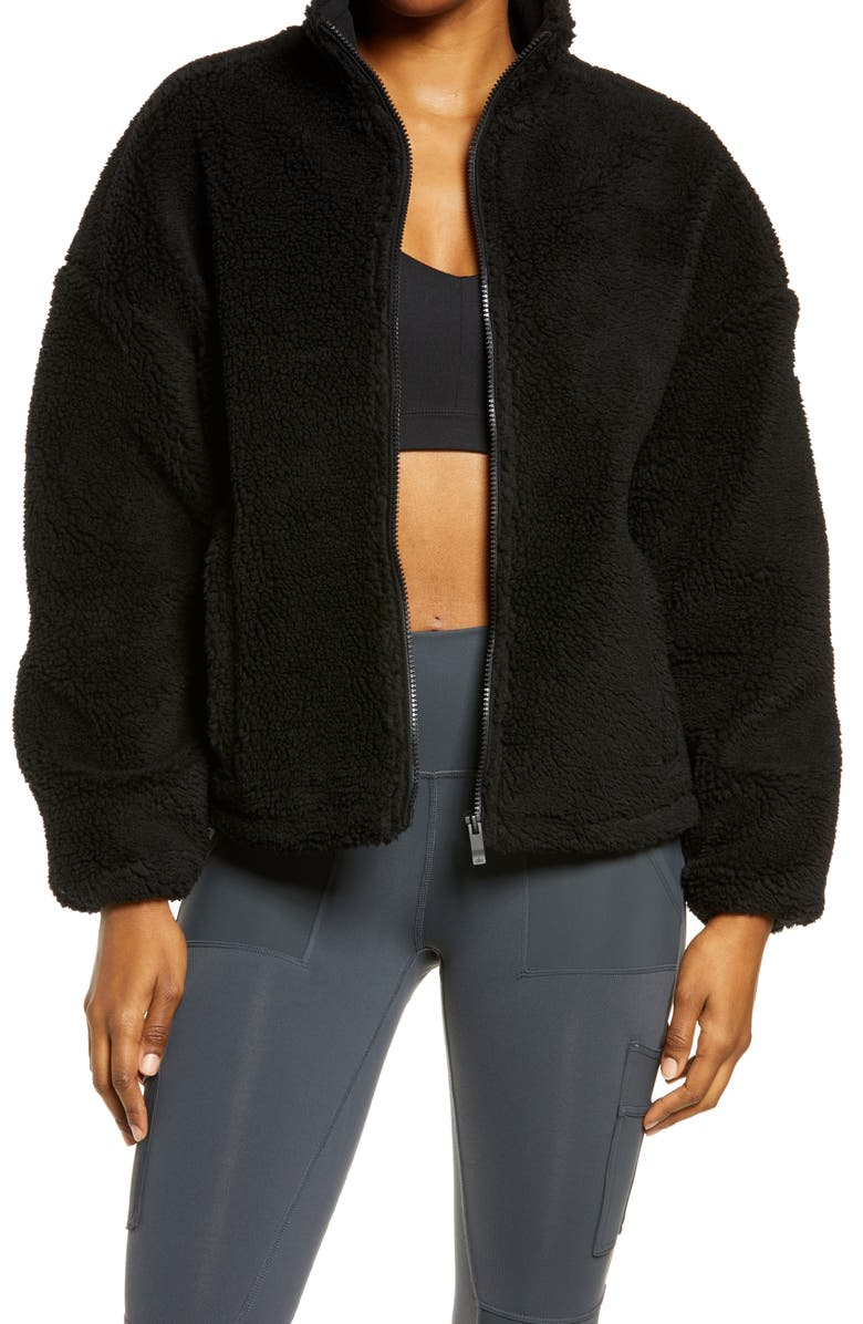ALO Flurry Faux Fur Jacket, Main, color, BLACK