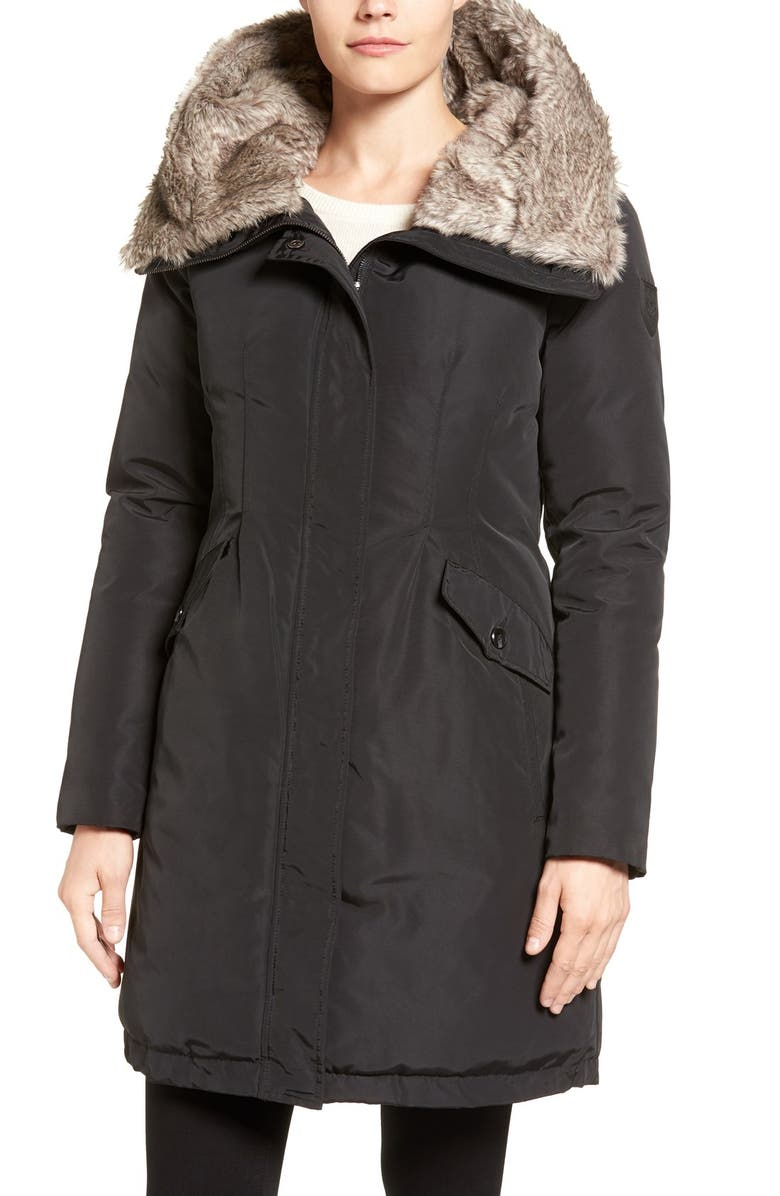 VINCE CAMUTO Faux Fur Trim Hooded Down & Feather Parka, Main, color, 001