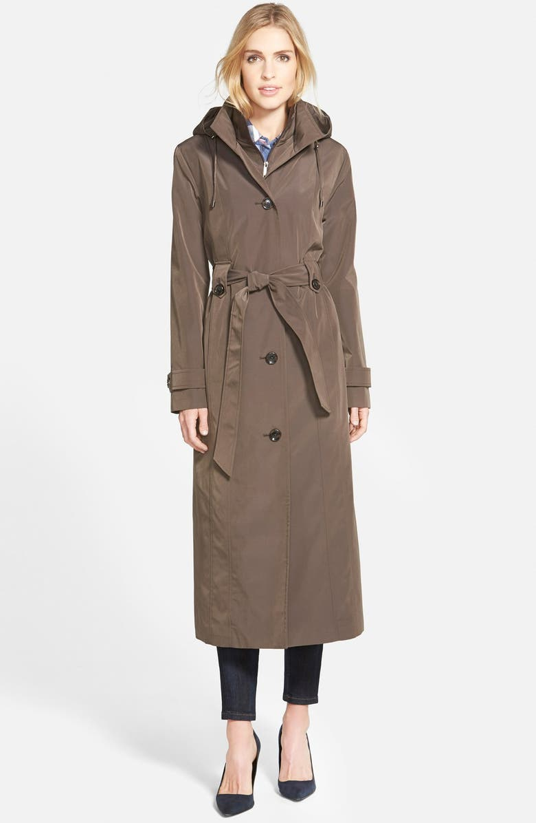 LONDON FOG Long Single Breasted Trench Coat with Inset Bib, Main, color, 200