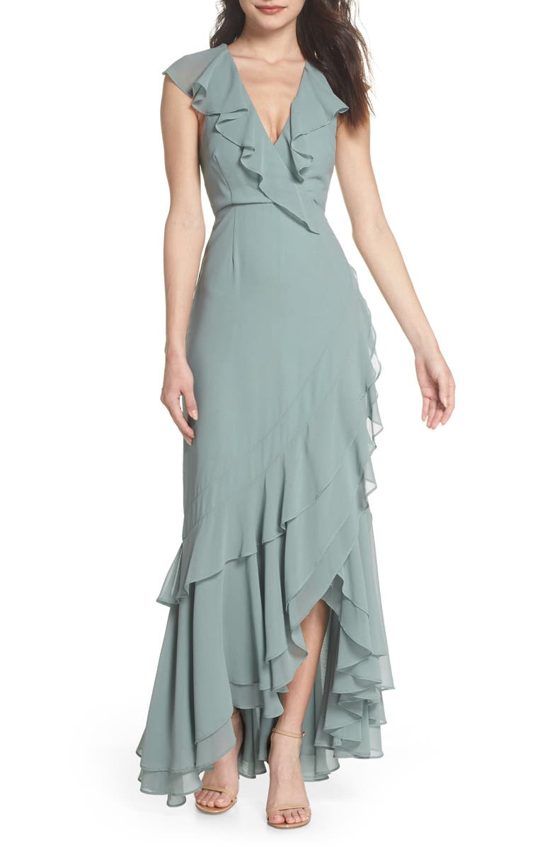 C/MEO COLLECTIVE C/MEO Be About You Ruffle Gown, Main, color, SAGE