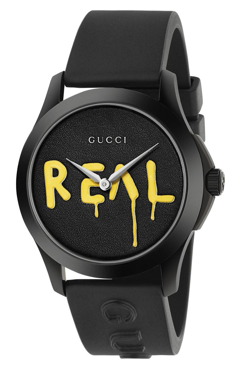 GUCCI Real Rubber Strap Watch, 38mm, Main, color, 001