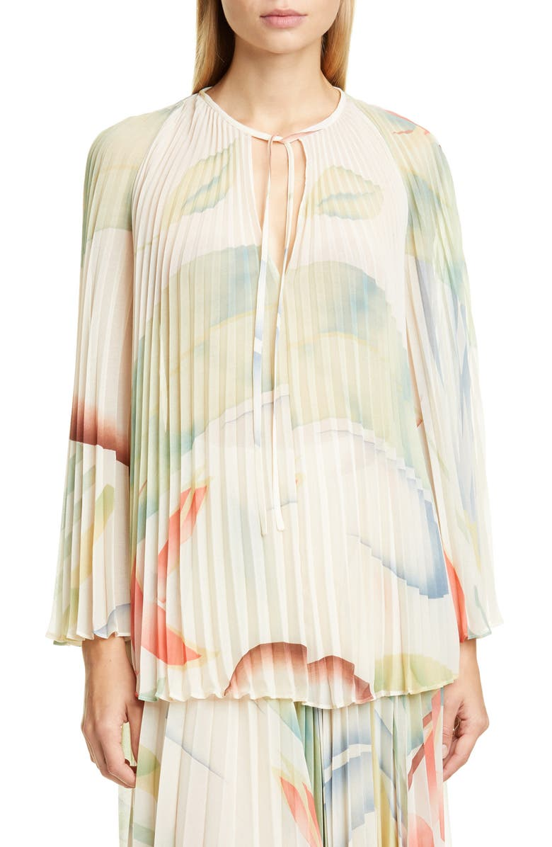 ETRO Watercolor Leaf Print Pleated Blouse, Main, color, 100