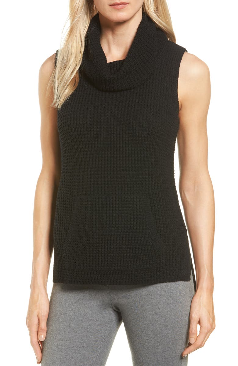 TWO BY VINCE CAMUTO Waffle Stitch Vest, Main, color, RICH BLACK
