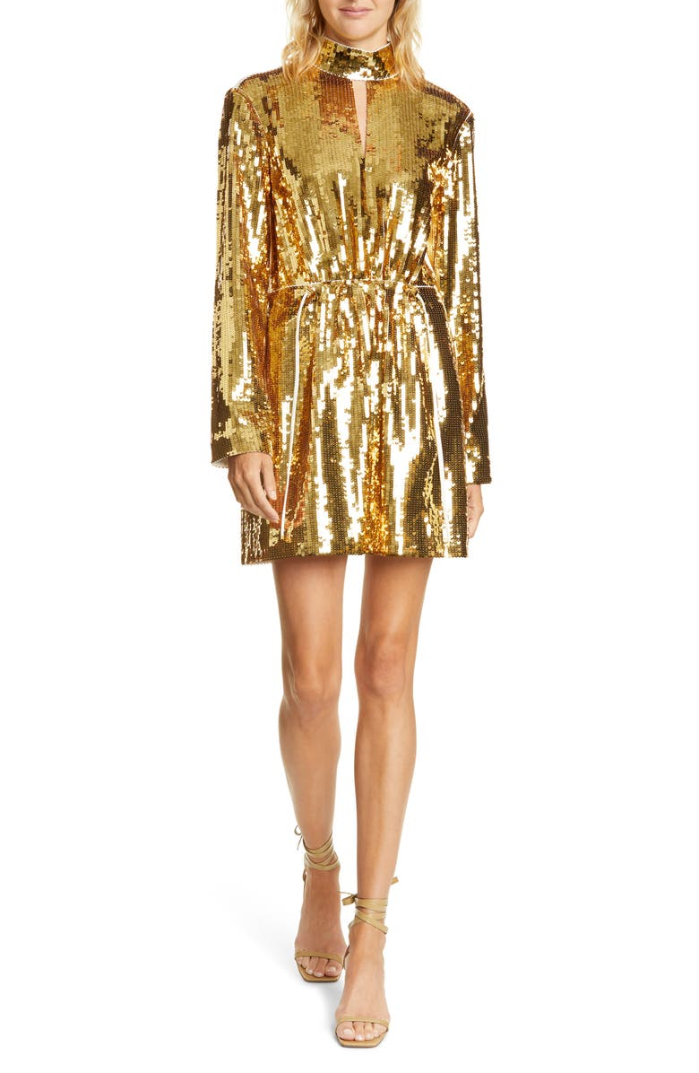 TIBI Avril Contrast Back Sequin Long Sleeve Minidress, Main, color, 710