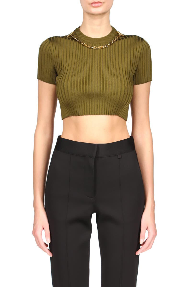 GIVENCHY Chain Embellished Knit Crop Top, Main, color, BOTTLE GREEN