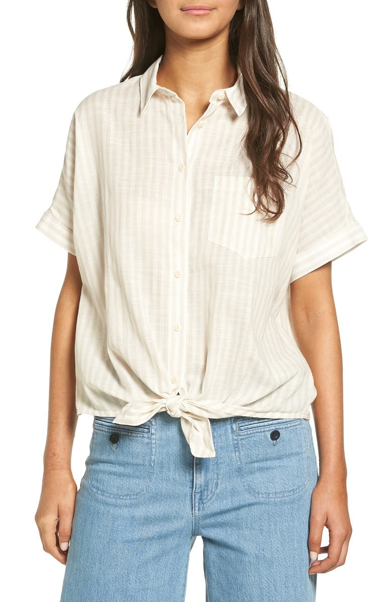 MADEWELL Irene Tie Front Shirt, Main, color, 250