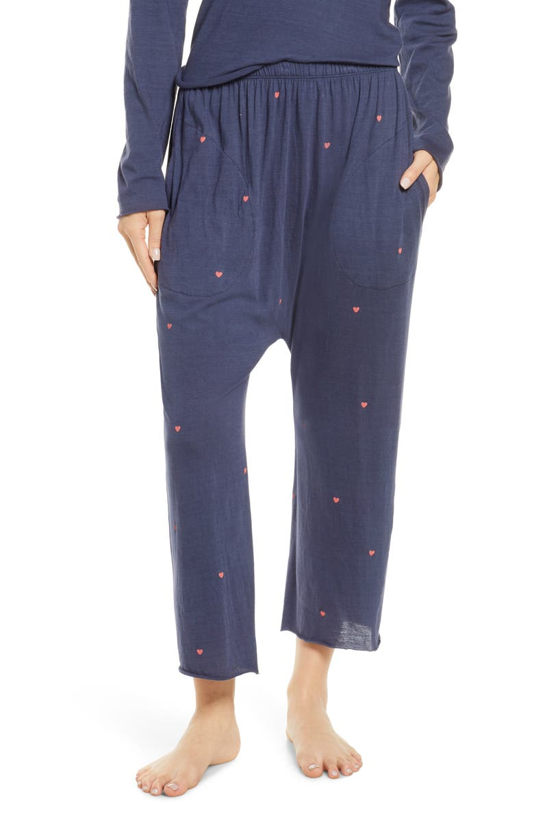 THE GREAT. The Lounge Crop Pajama Pants, Main, color, 400