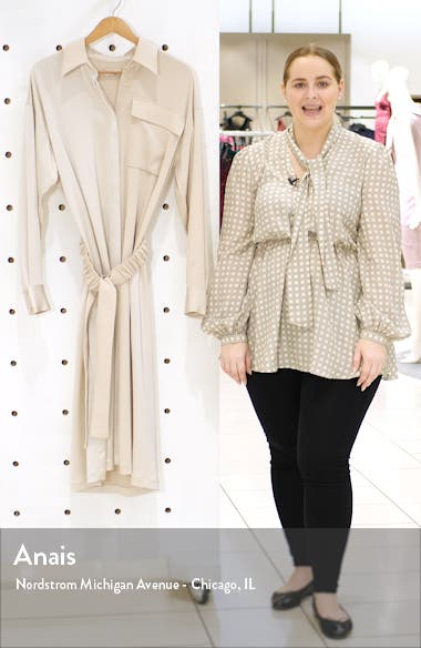 Split Front Long Sleeve Shirtdress, sales video thumbnail