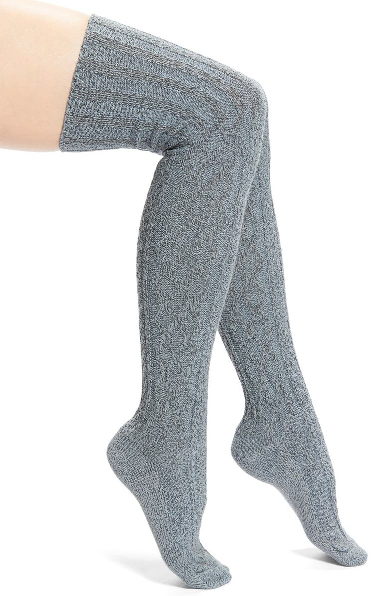 PEONY & MOSS MarledCable Knit Thigh High Socks, Main, color, 020