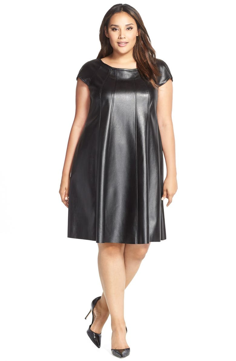 GABBY SKYE Faux Leather Trapeze Dress, Main, color, 001