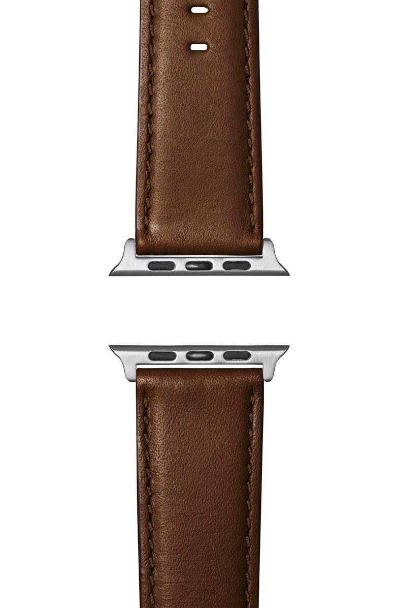 SHINOLA Rail Road Leather Apple Watch<sup>®</sup> Strap, Main, color, DARK NUT BROWN/ SILVER