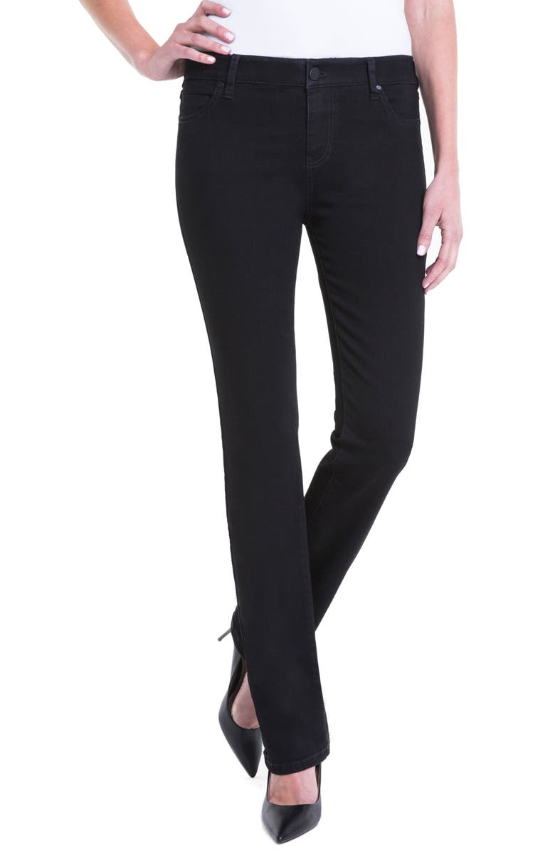 LIVERPOOL Jeans Company Sadie Mid Rise Stretch Straight Jeans, Main, color, 001