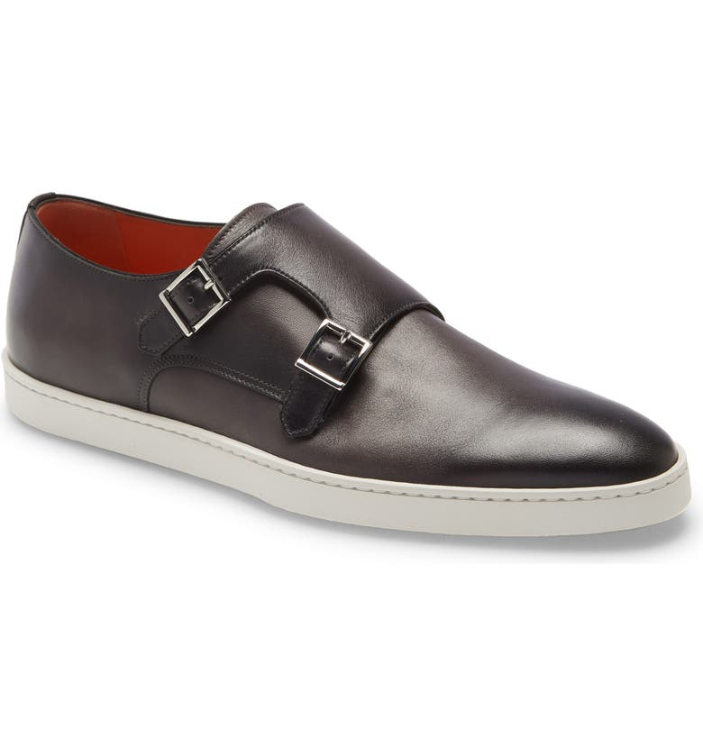 SANTONI Freemont Leather Slip-On Monk Shoe, Main, color, GREY