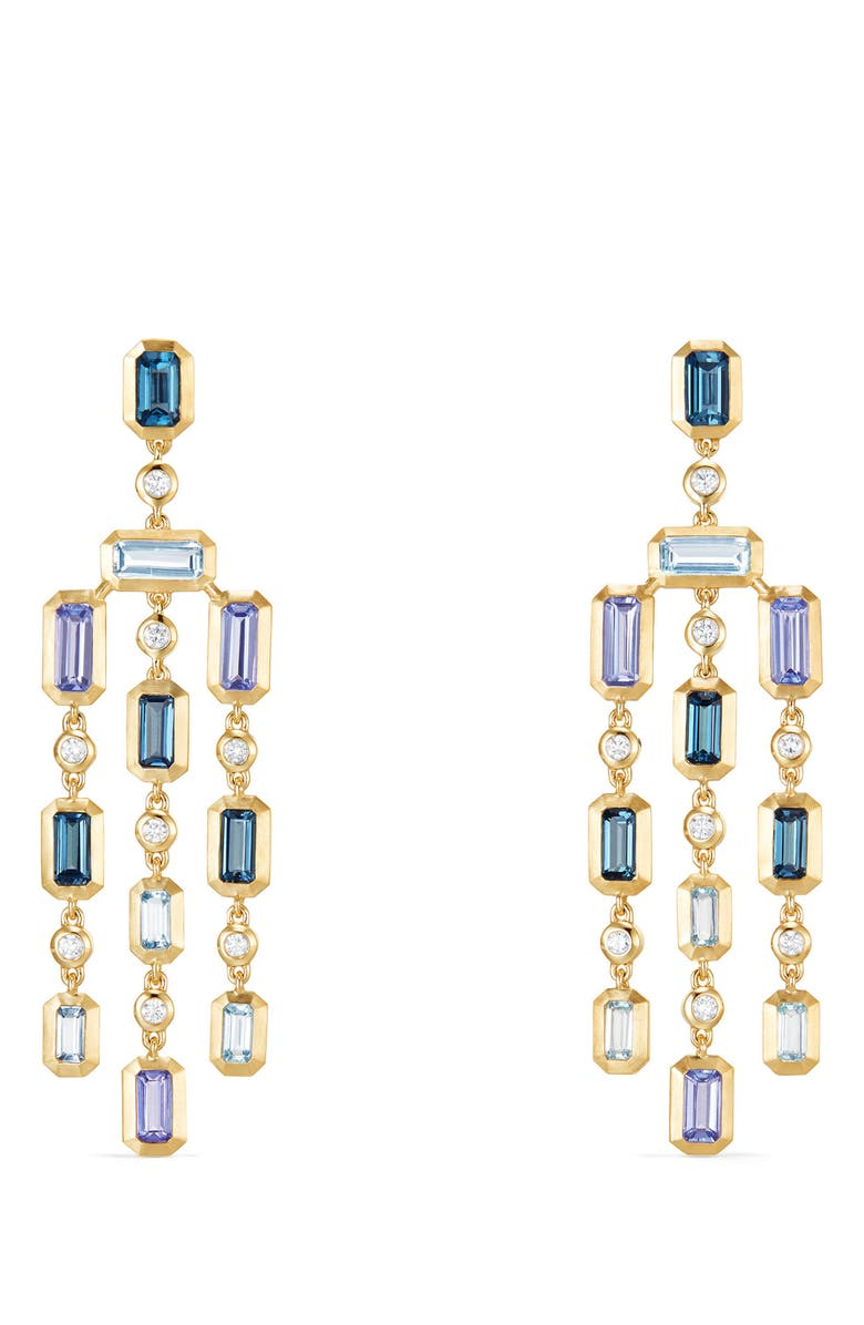 DAVID YURMAN Novella Earrings with Diamonds, Main, color, GOLD/ DIAMOND/ BLUE TOPAZ