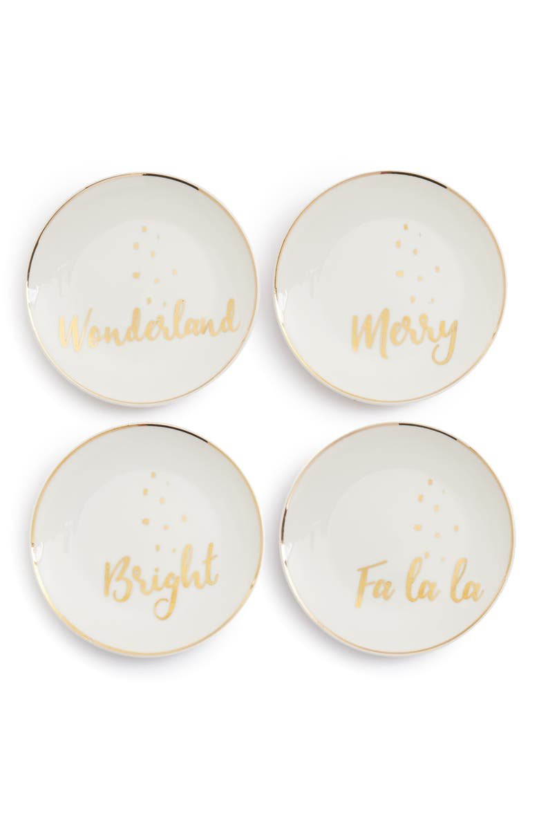 AMERICAN ATELIER Set of 4 Holiday Appetizer Plates, Main, color, 100