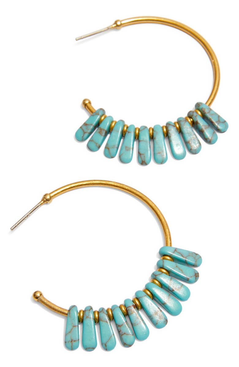 MADEWELL Turquoise Beaded Hoop Earrings, Main, color, 300