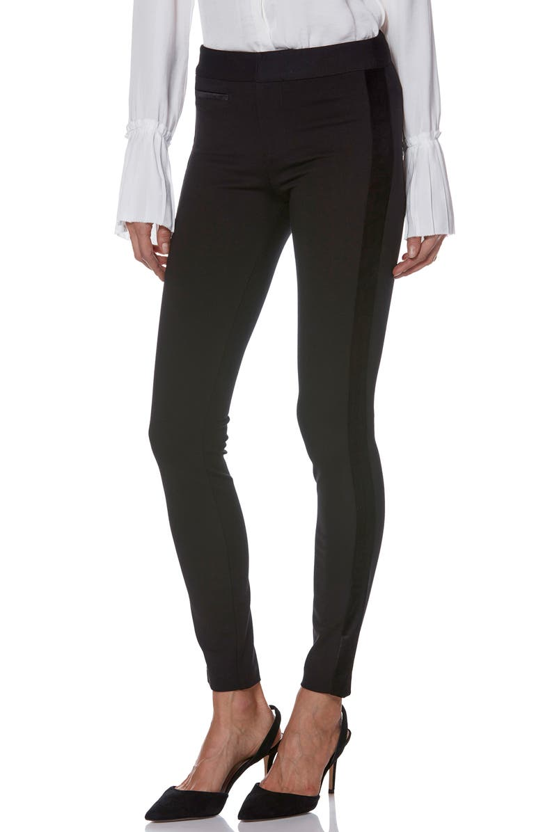 PAIGE Tereza Velvet Side Stripe Slim Pants, Main, color, BLACK