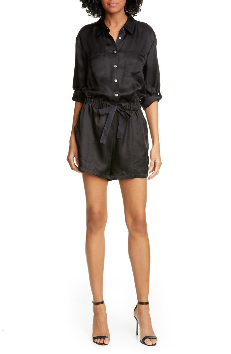 CINQ À SEPT Giles Satin Twill Romper, Main, color, 001