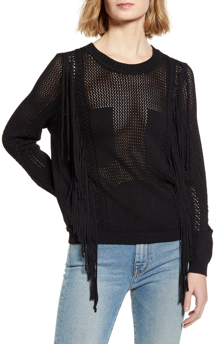 7 FOR ALL MANKIND<SUP>®</SUP> Open Weave Fringe Sweater, Main, color, JET BLACK