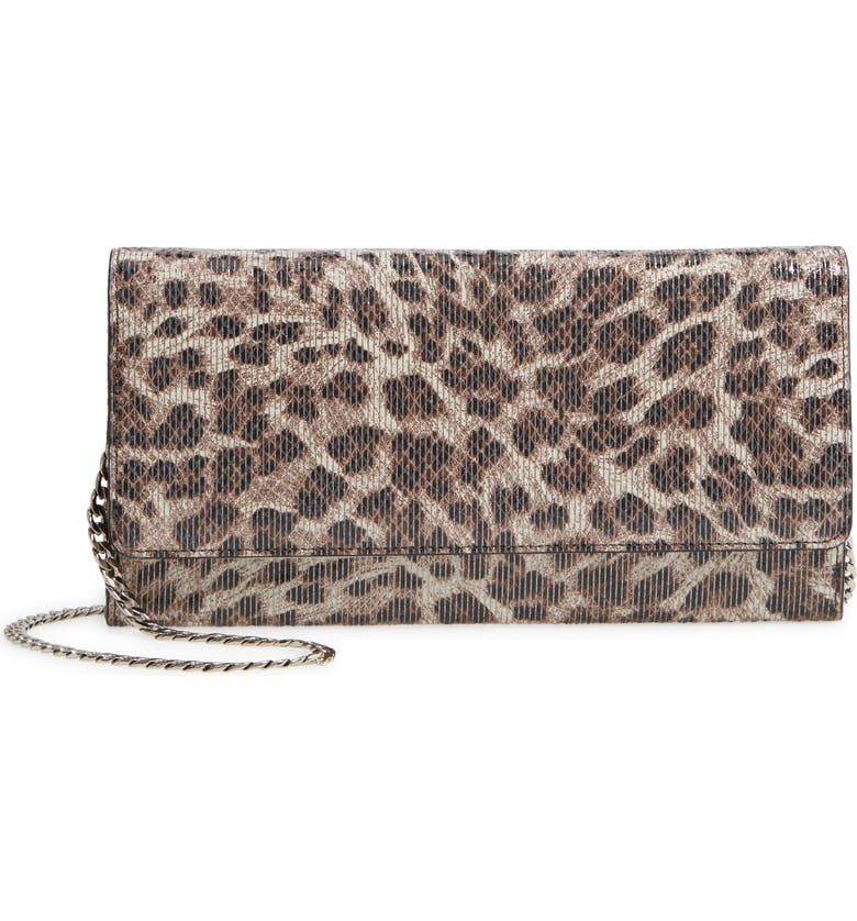 NORDSTROM Selena Leather Clutch, Main, color, GREY CRYSTAL LEOPARD