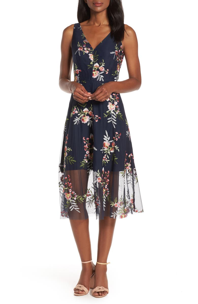 VINCE CAMUTO Floral Embroidered Mesh Midi Dress, Main, color, NAVY/ MULTI