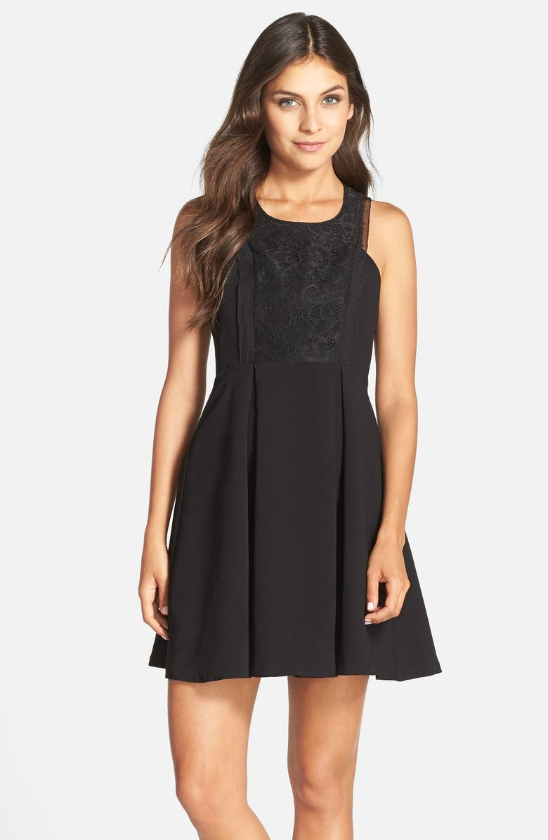 BCBGENERATION Mixed Media Fit & Flare Dress, Main, color, 001