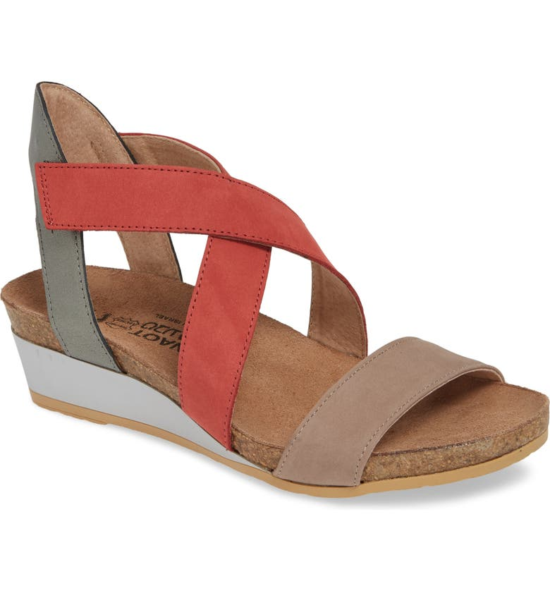 NAOT Vixen Wedge Sandal, Main, color, STONE/ BRICK RED LEATHER