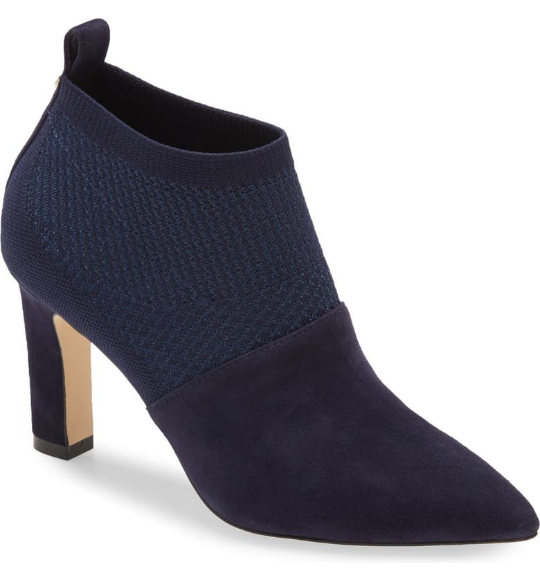 COLE HAAN Vannie Pointed Toe Bootie, Main, color, MARINE BLUE KNIT/ SUEDE